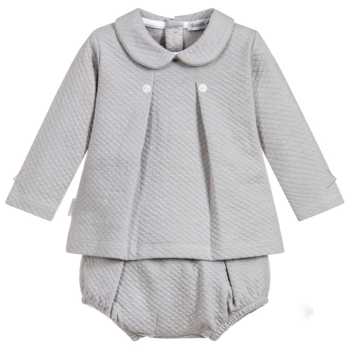 Babidu Grey Cotton Two Piece Shorts Set
