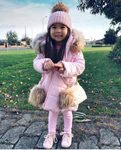 Bufi Girls Pink Pom Pom Padded Puffer Coat