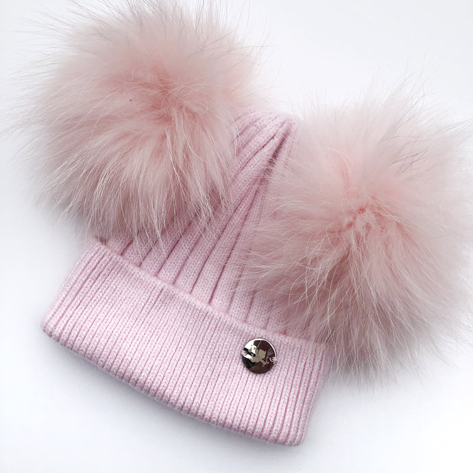 Little Valentines Luxury Angora Pink Double Fur Pom Pom Hat