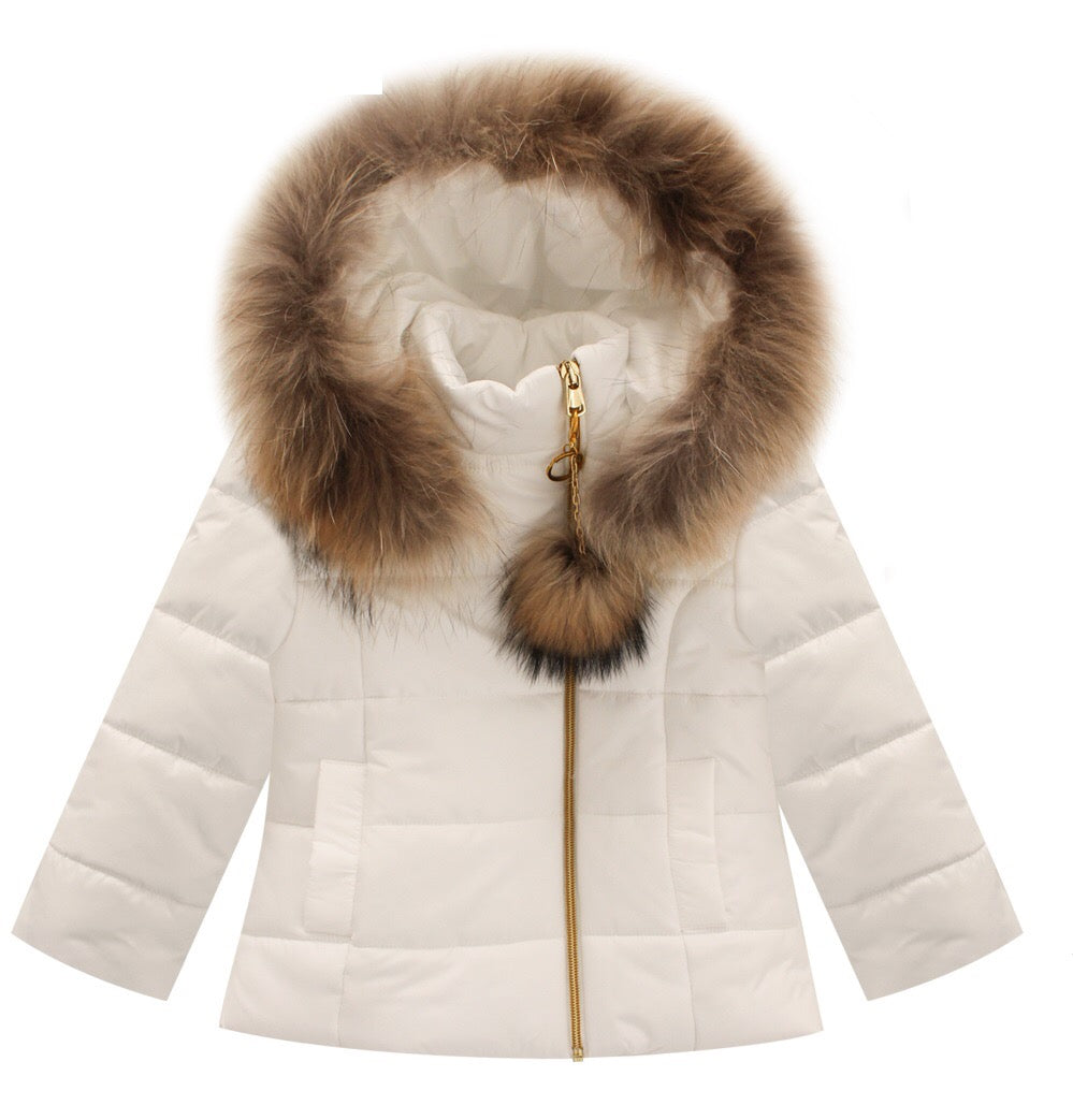 Bufi Girls White Padded Puffer Coat