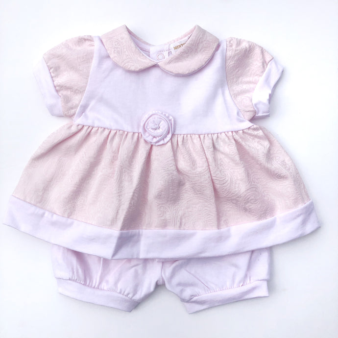 Mintini Baby Pink Cotton Dress Set