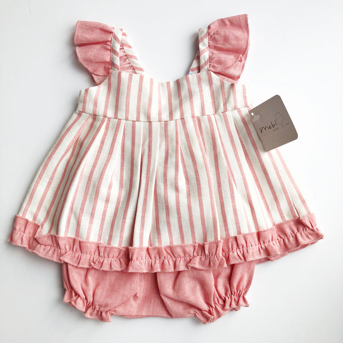Mebi Girls Coral And Ivory Linen and Cotton Dress Set