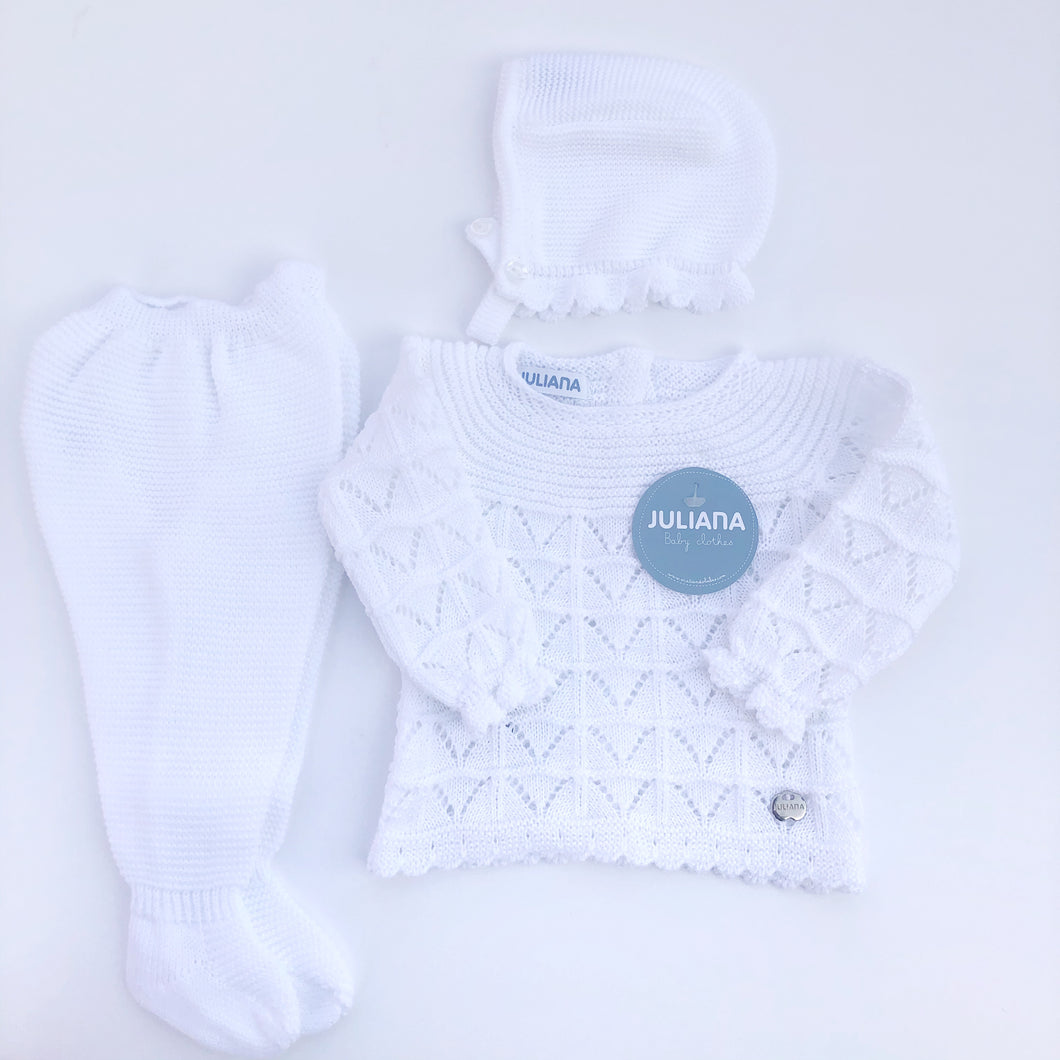 White knitted baby set by Juliana Baby, Spanish childrenswear