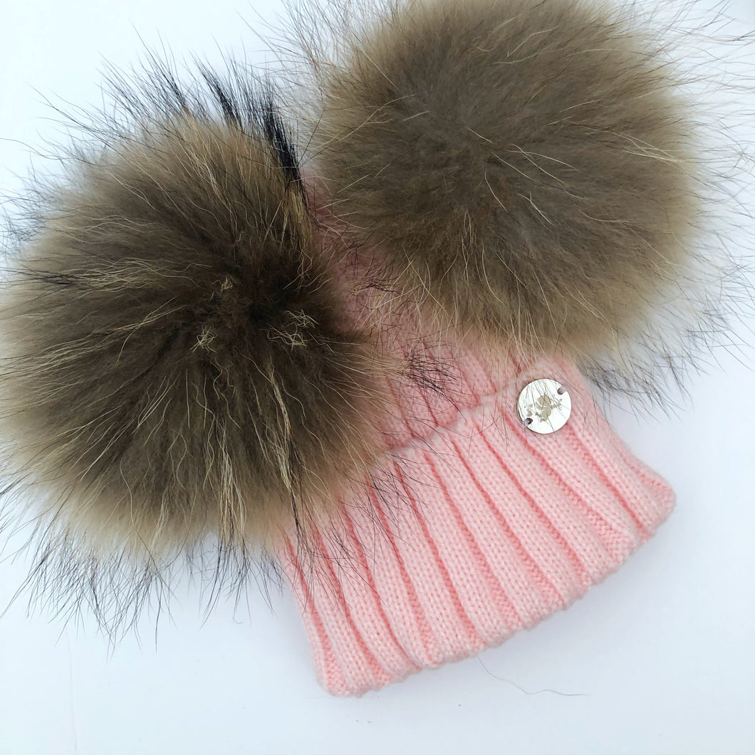 Little Valentines Pink Double Fur Pom Pom Hat