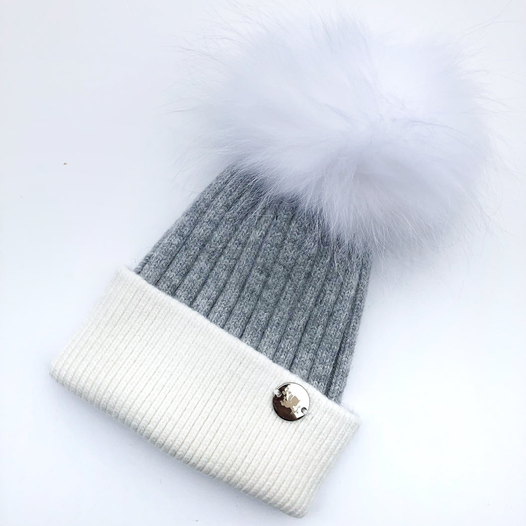 Little Valentines Luxury Angora Grey and Ivory Fur Pom Pom Hat