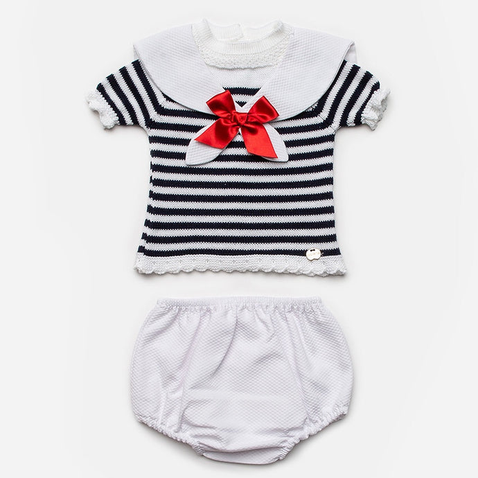 Juliana Baby Girls White and Navy Nautical Shorts Set