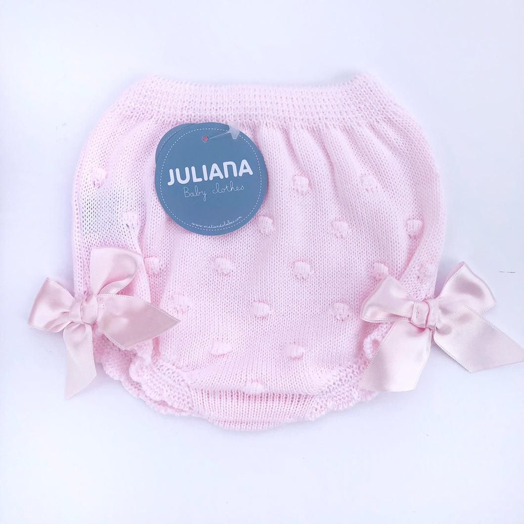 Pink knitted bloomers by Juliana Baby, Spanish childrenswear