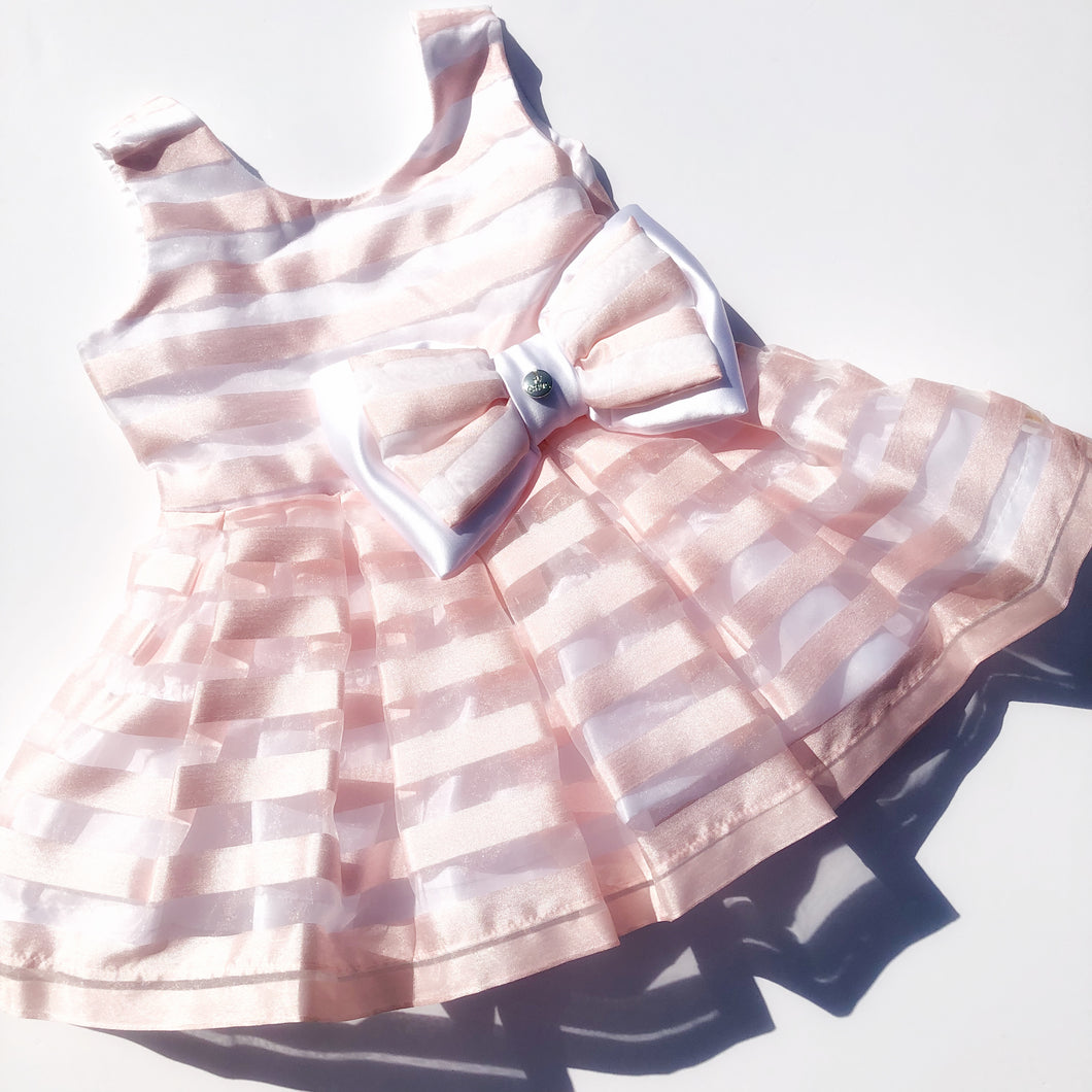 CHUA pink stripe organza dress