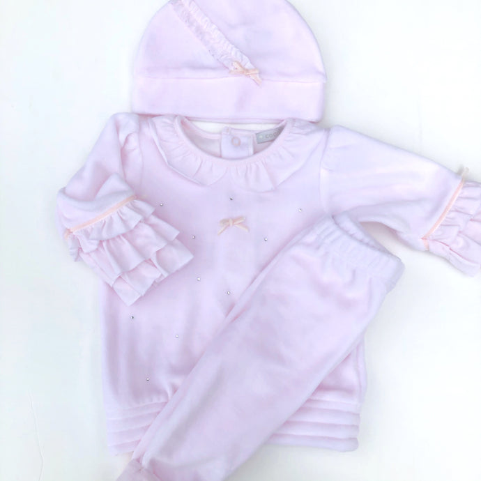 Mintini Baby Girls Pink Diamanté 3 Piece Set