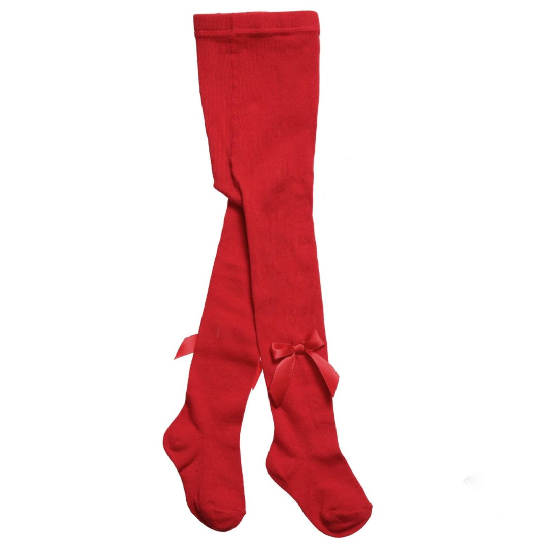 Carlomagno Girls Red Bow Tights