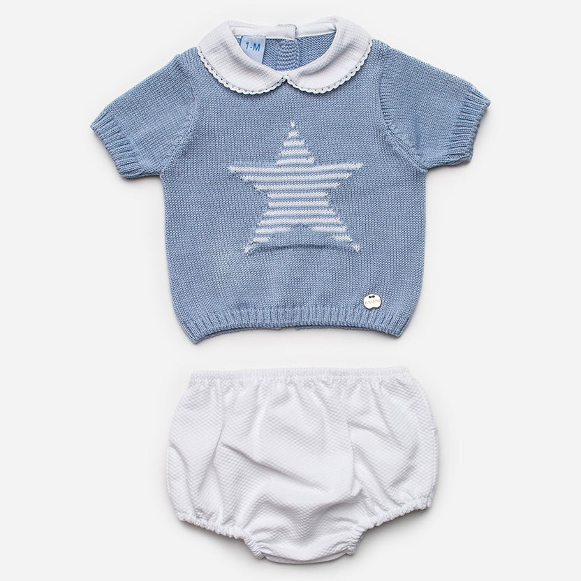 Juliana Baby Blue Star Knitted Shorts Set