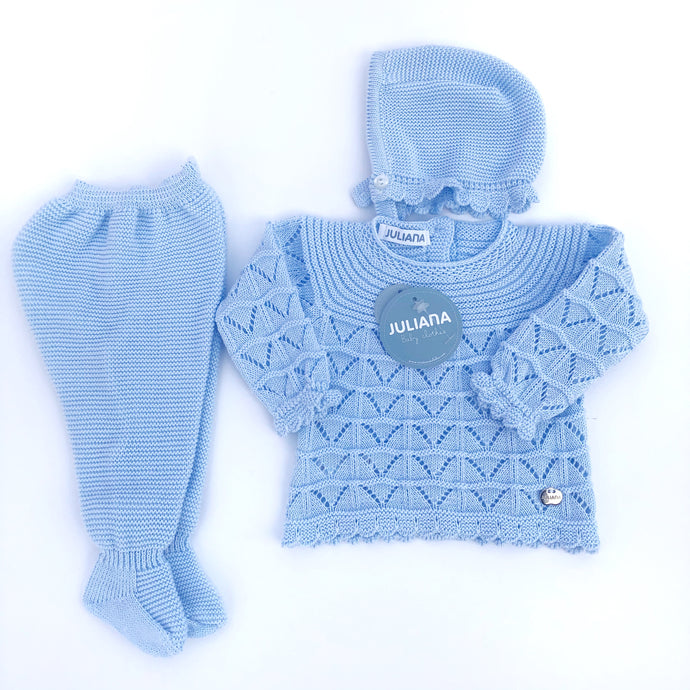 Juliana Baby Blue Babygrow and Bonnet Set