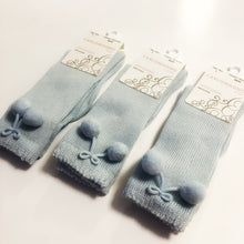 Carlomagno Blue Knee High Pom Pom Socks
