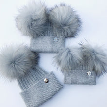 Little Valentines Luxury Angora Grey Double Fur Pom Pom Hat