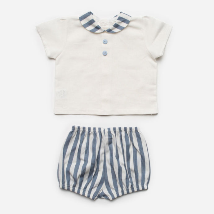 Juliana Baby Boys White and Blue Stripe Shorts Set
