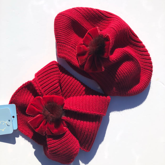 Granlei Girls Red Hat and Scarf Set