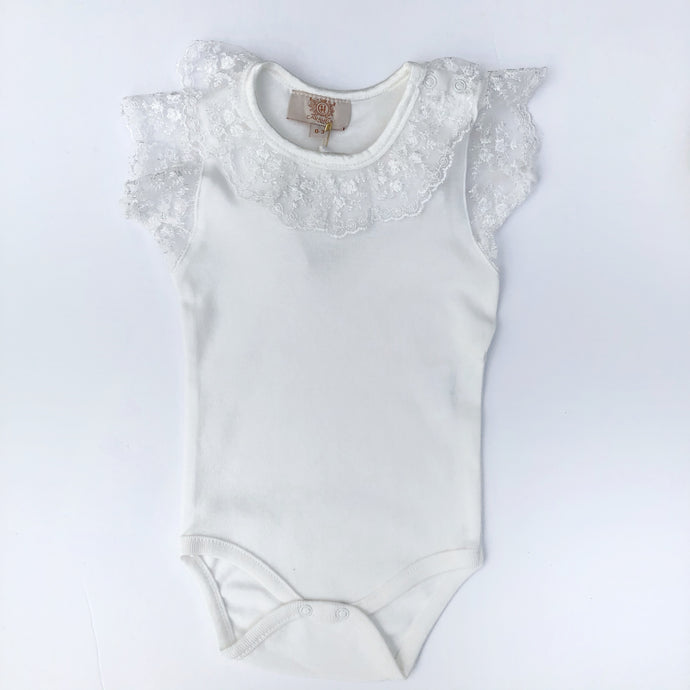 Caramelo Girls Ivory Lace Bodysuit