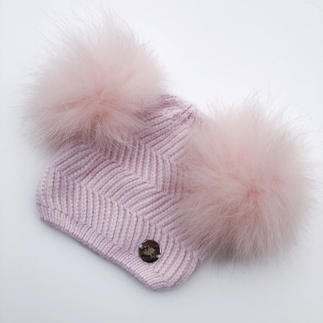 Little Valentines Pink Double Fur Pom Pom Angora Hat