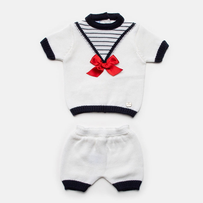 Juliana Baby Boys White Nautical Shorts Set