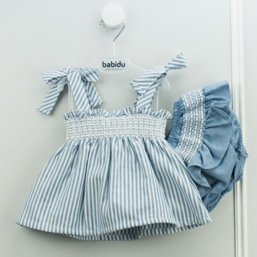 Babidu Girls Blue Stripe Cotton Dress Set