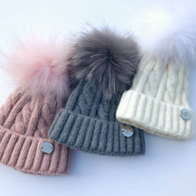 Little Valentines Cable Knit Grey Fur Pom Pom Hat