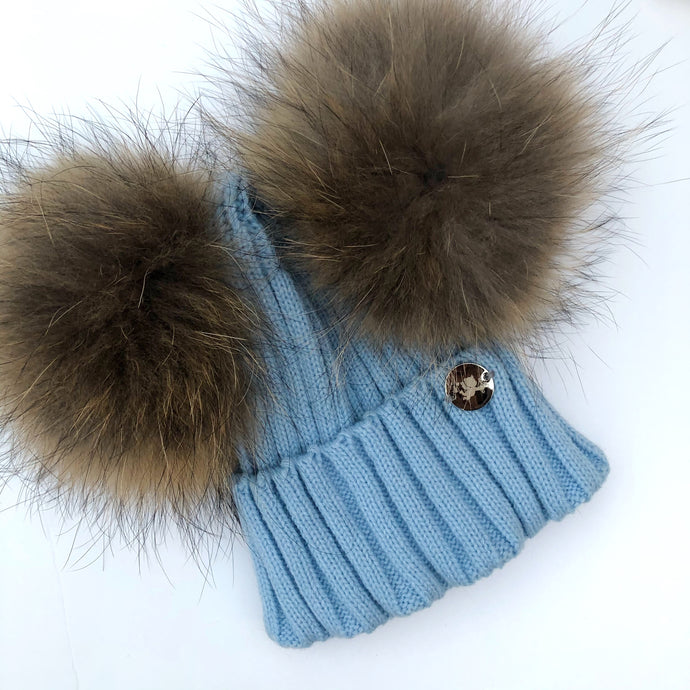 Little Valentines Blue Double Fur Pom Pom Hat