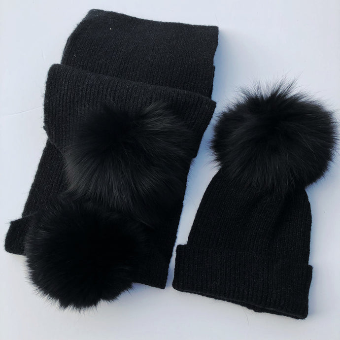 Black Hat and Scarf Set for Adults