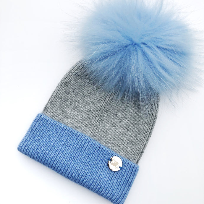 Little Valentines Angora Grey and Blue Fur Pom Pom Hat