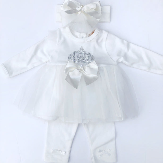 Caramelo Girls Ivory Dress and Leggings Set
