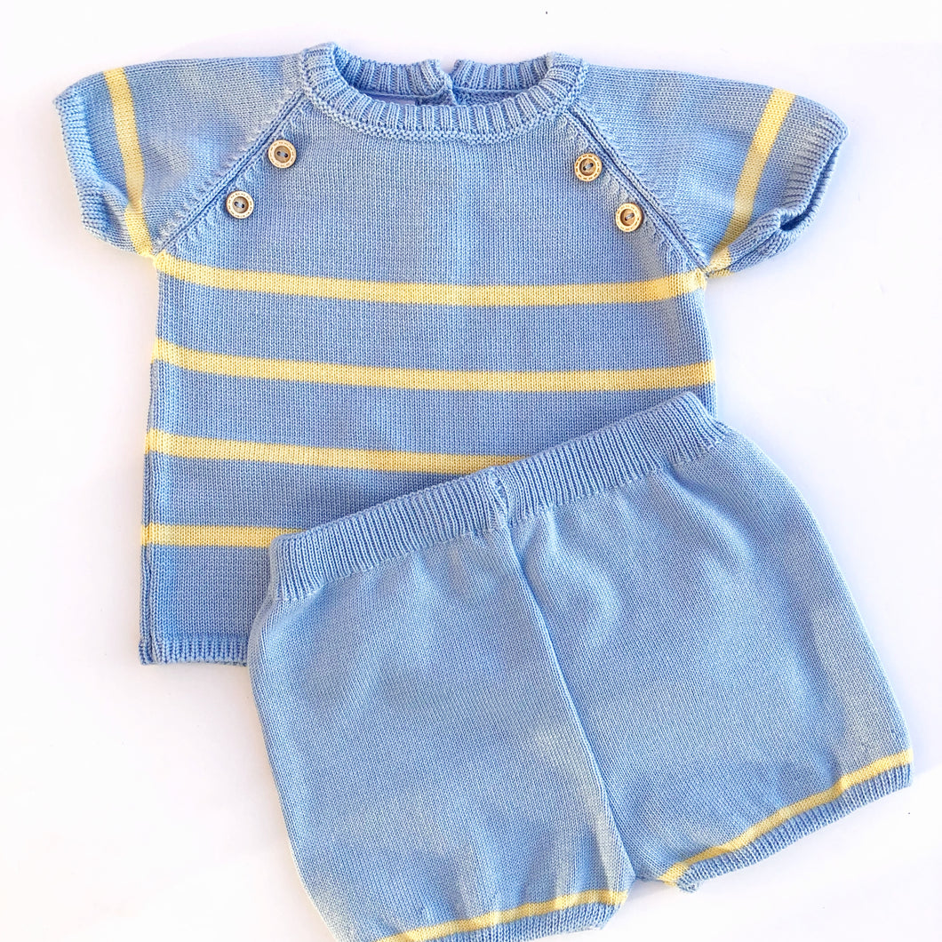 Granlei Boys Blue and Lemon Knitted Shorts Set
