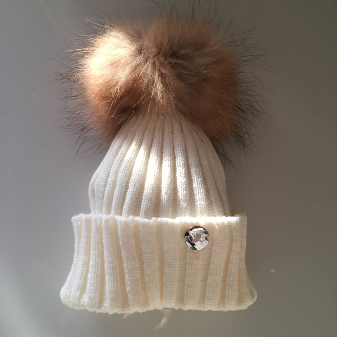 Little Valentines Classic Ivory Fur Pom Pom Hat