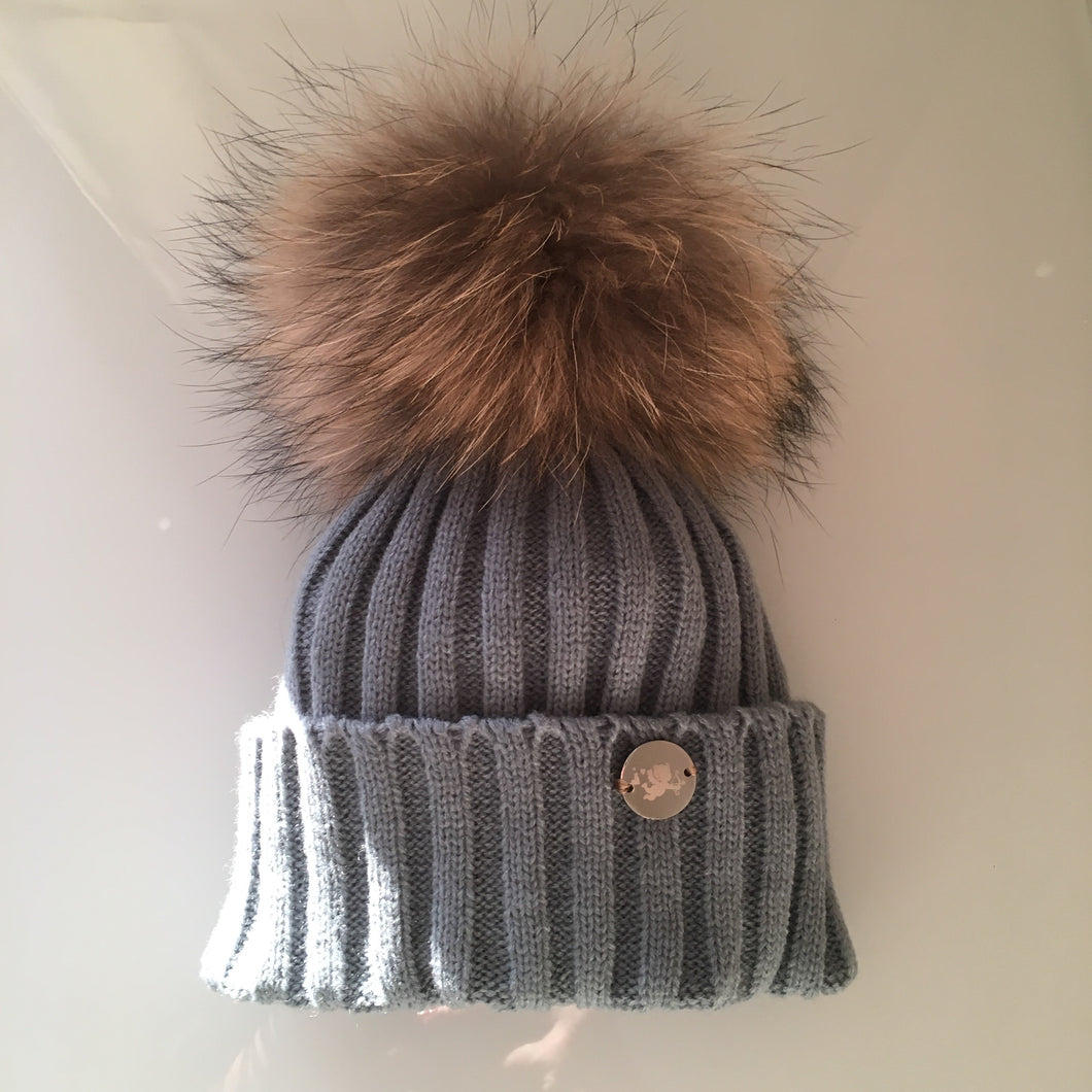 Little Valentines Classic Grey Fur Pom Pom Hat