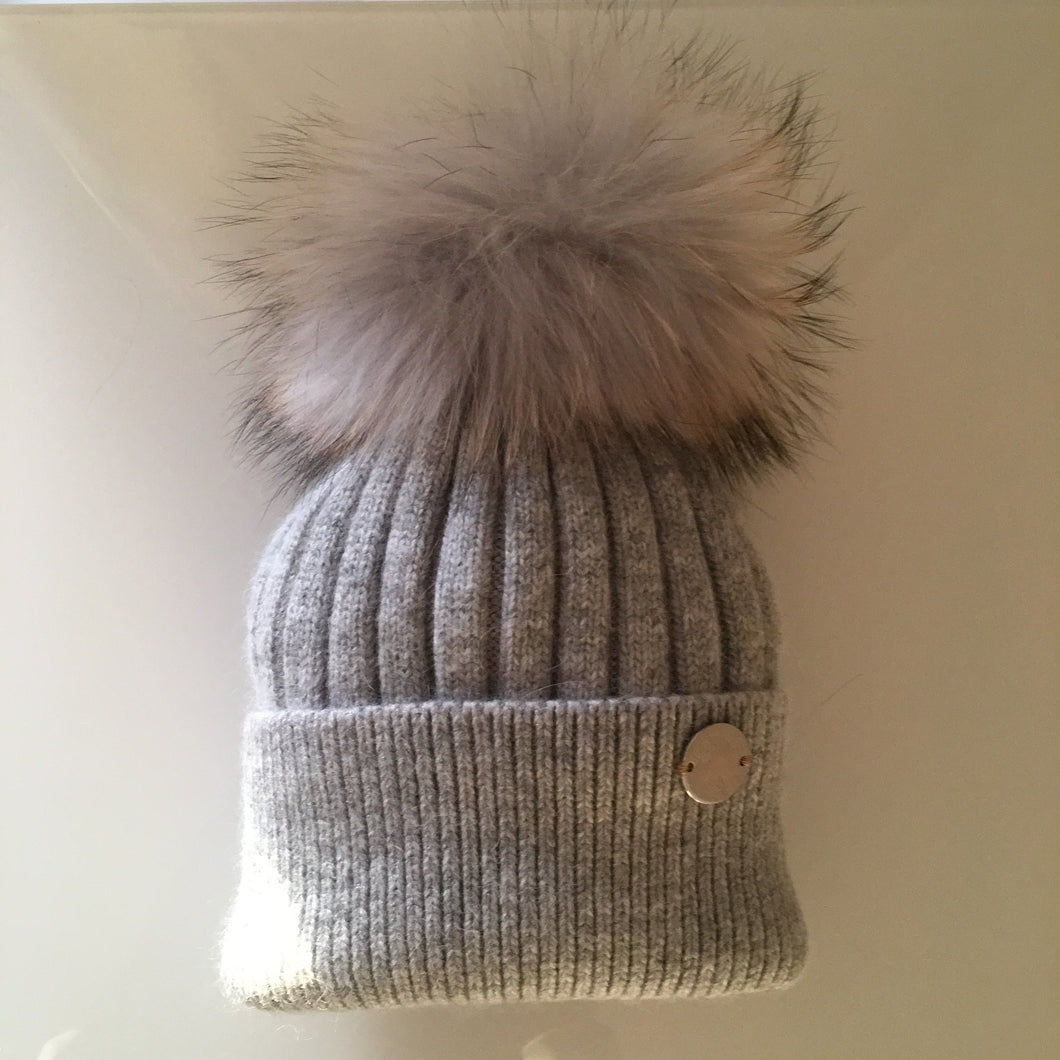 Little Valentines Luxury Angora Grey Fur Pom Pom Hat