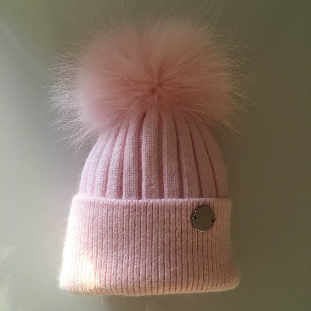 Little Valentines Luxury Angora Pink Fur Pom Pom Hat