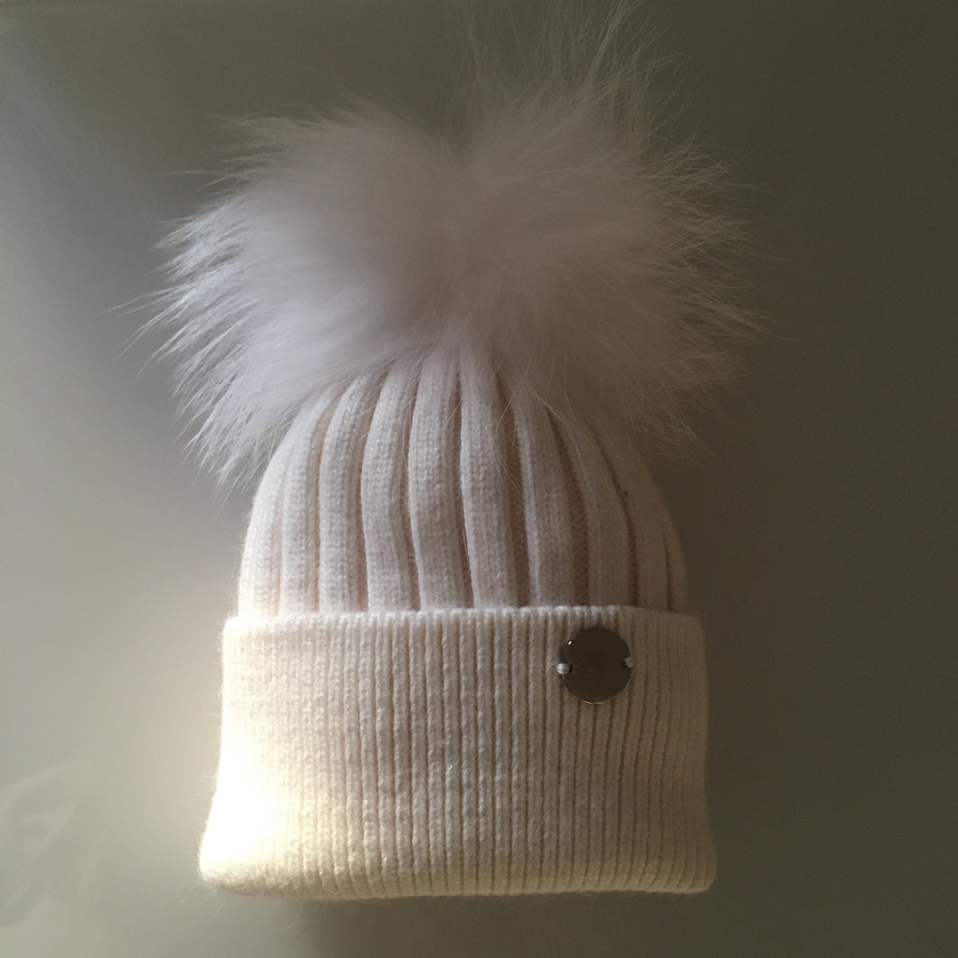 Little Valentines Luxury Angora Ivory Fur Pom Pom Hat