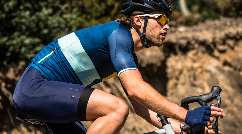 velocio mens signature bib navy in the drops