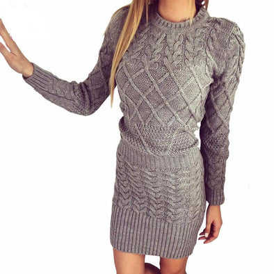 Long Sleeve Knitted Bodycon Stretch Dress