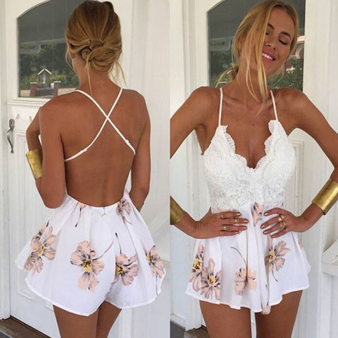 White Lace Floral Romper