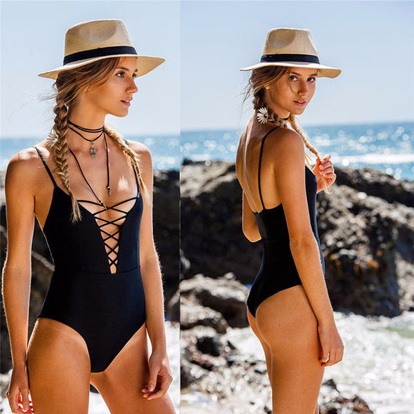 Lace-Up One Piece Swimsuit (6 Colors)