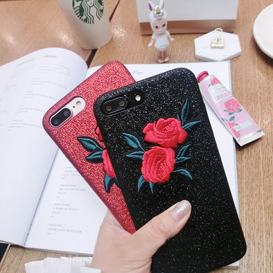 Embroidered Sweet Roses iPhone Case