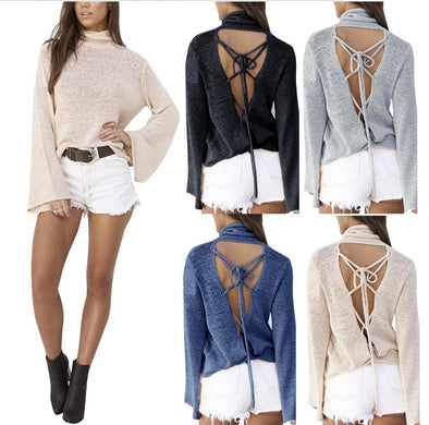 Funnel Neck Loose Knit Top color options