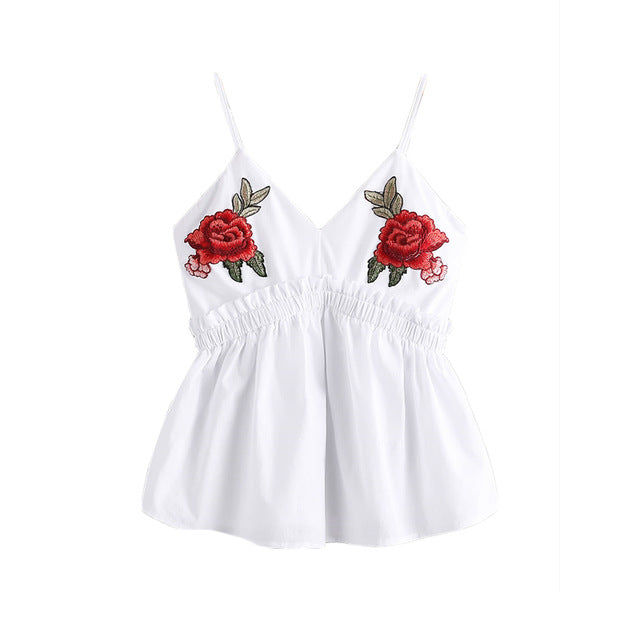 b826715683c35 Sweet roses embroidered lace ruffle tank – StreetPacific