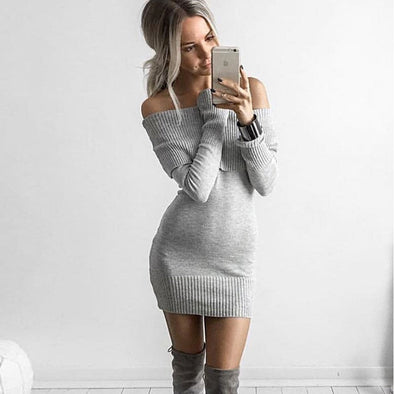 Off shoulder Sweater Dress Color Options