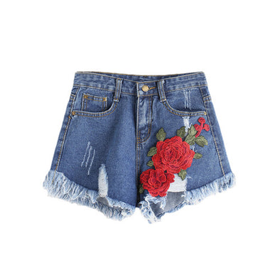 embroidered Sweet Roses denim ripped shorts