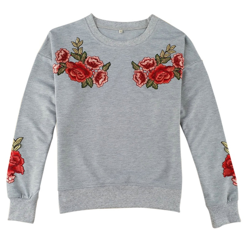 4f0d687cb2876 Sweet Roses embroidered gray sweater – StreetPacific