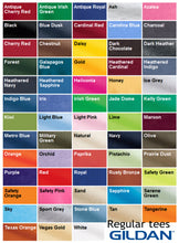 gildan regular tee color chart