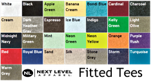 next level fitted tee color chart