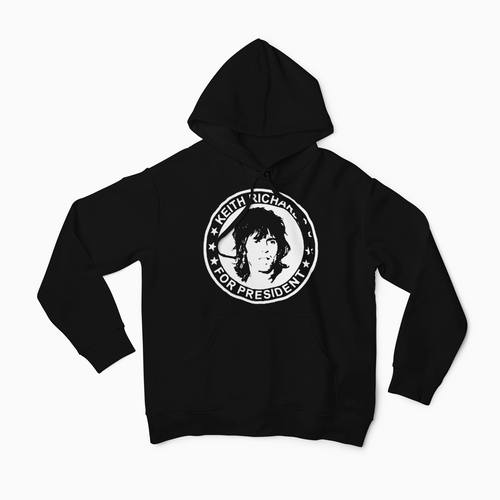 Rolling Stones Keith Richards for President Hoodie / Guitar / Blues / Vintage Style / Rock Legend FREE SHIPPING