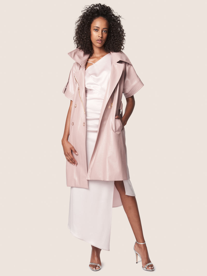 Vegan patent leather short-sleeved trench coat with front tie belt and cinched waist Alternate