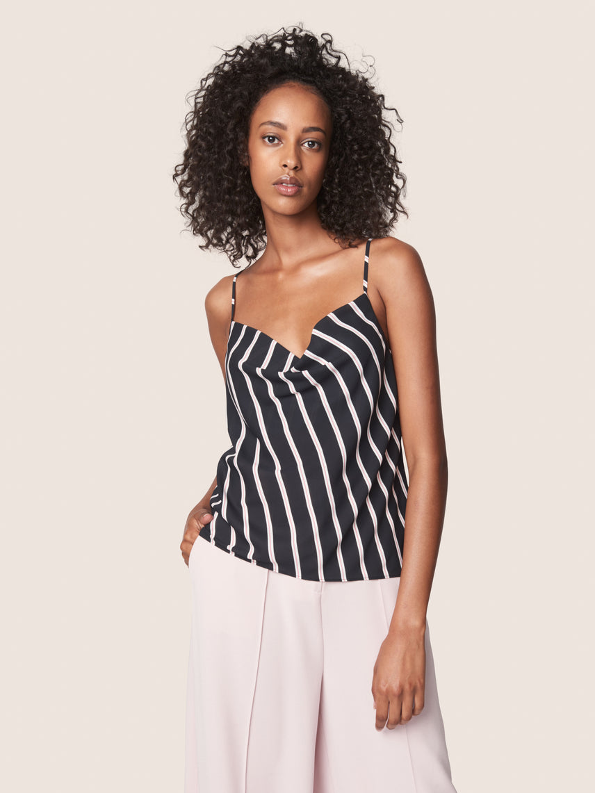 Striped cowl neckline satin cami with side buttons